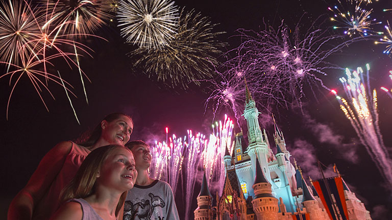 Spectacular fireworks display at Magic Kingdom