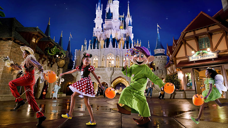 Guests experiencing the Halloween Festival in Magic Kingdom