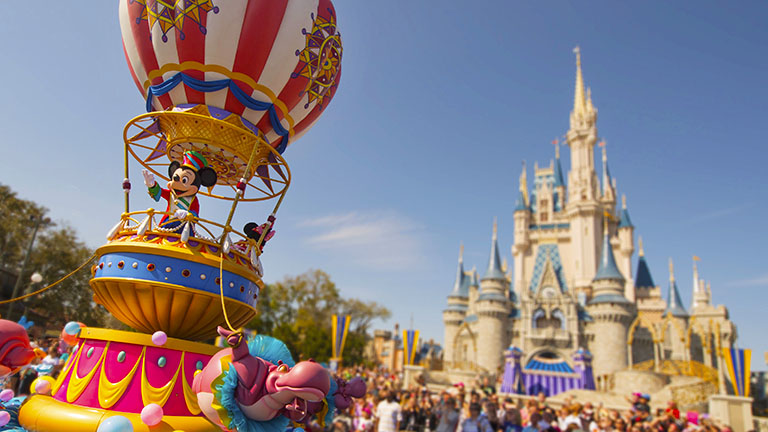 Mickey Mouse in a float, waving during the parade in Magic Kingdom