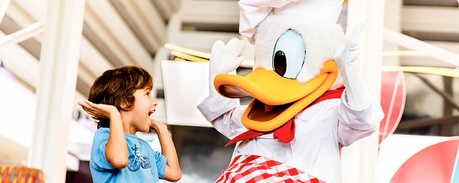 Enjoy Character dining with Donald at Chef Mickey's at Disney's Contemporary Resort