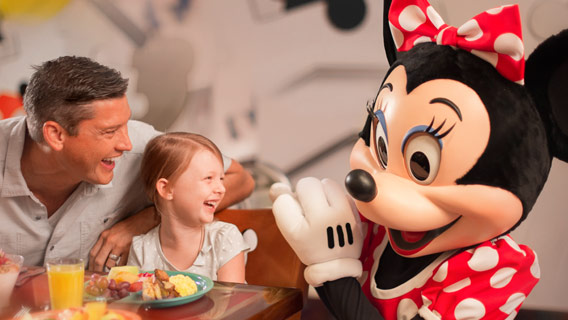Family dining with Minnie at Chef Mickeys
