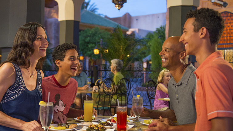 Family dining at Spice Road Table in Morocco at World Showcase at Epcot
