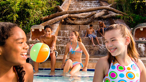 Teenagers in the pool at Coronado Springs
