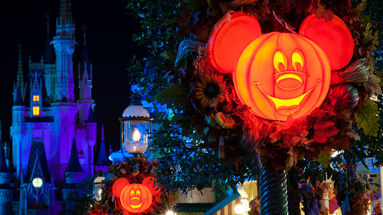 Halloween decorations on Main Street in Magic Kingdom