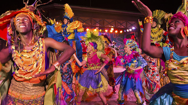 Street performers in Carnivale at Animal Kingdom Theme Park