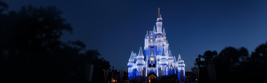 Cinderella castle illuminated xmas holiday lights at Disney's Magic Kingdom Theme Park