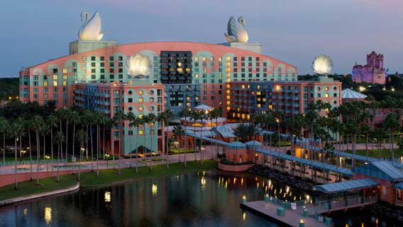 The exterior of Walt Disney World Swan Hotel