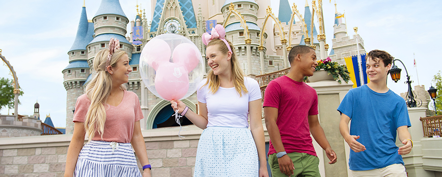 Teenagers at Cinderella Castle in Magic Kingdom