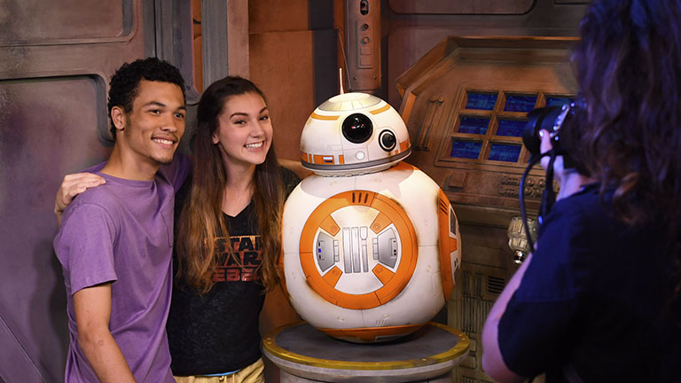 Couple with BB8 at Star Wars Launch Bay at Disney's Hollywood Studios