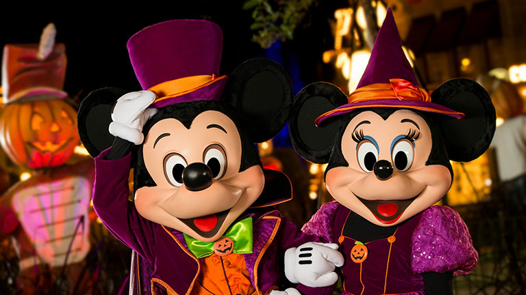 Mickey and Minnie Mouse in Mickey's Boo to You Halloween parade at Magic Kingdom