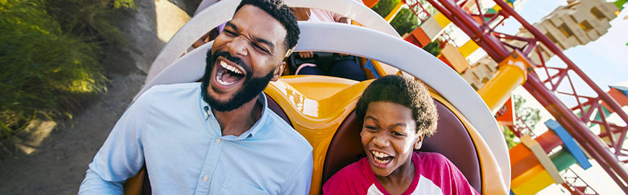 Father and son on Slinky Dog Dash at Disney's Hollywood Studios