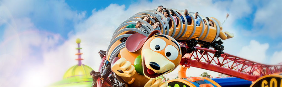 Guests on Slinky Dog Dash Coaster in Toy Story Land